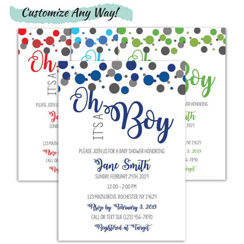 Confetti Baby Shower Invitation For A Boy | Oh Boy, Baby Shower!, Baby Shower, designLEE Studio, designLEE Studio