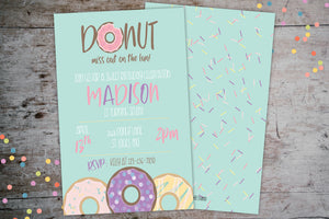 Donut Birthday Party | Donut Grow Up Birthday Invitation, Birthday Invite, designLEE Studio, designLEE Studio