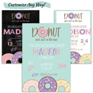Donut Birthday Party Invitation Set | Donut Grow Up Birthday Party Invitation, Digital Download, designLEE Studio, designLEE Studio