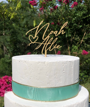 Load image into Gallery viewer, Rustic Couples Name Wedding Cake Topper | Calligraphy Script | Personalized Anniversary Topper | Gold, Silver, & Rose Gold Wood Gift