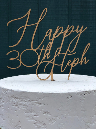 Happy Birthday Cake Topper | Personalized Cake Topper for Birthdays | Woor or Acrylic