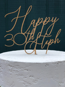 Happy Birthday Cake Topper | Any Age Cake Topper | Personalized Cake Topper Birthday