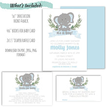 Load image into Gallery viewer, Elephant Baby Shower Party Invitation Set For a Boy | Baby Elephant Baby Shower Invitation, Baby Shower, designLEE Studio, designLEE Studio