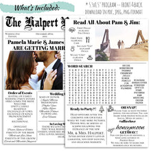 Load image into Gallery viewer, Newspaper Infographic Wedding Program | Fun Wedding Program, Wedding Program, designLEE Studio, designLEE Studio