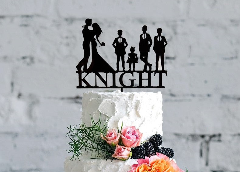 Family Silhouette Wedding Cake Topper | Personalized Bride & Groom Cake Topper | Custom Acrylic or Wood Cake Topper, Wedding Cake Topper, designLEE Studio, designLEE Studio