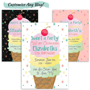 Ice Cream Party Birthday Invitation for a Girl | Sweet A Party Birthday Invite, Birthday Invite, designLEE Studio, designLEE Studio