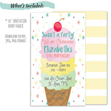 Load image into Gallery viewer, Ice Cream Party Birthday Invitation for a Girl | Sweet A Party Birthday Invite, Birthday Invite, designLEE Studio, designLEE Studio