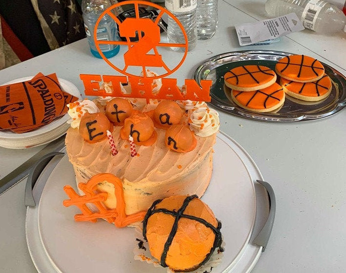 Basketball Birthday Cake Topper | Sports Birthday Cake Topper | Custom Birthday Cake Topper | Personalized Celebration Décor | Acrylic/Wood