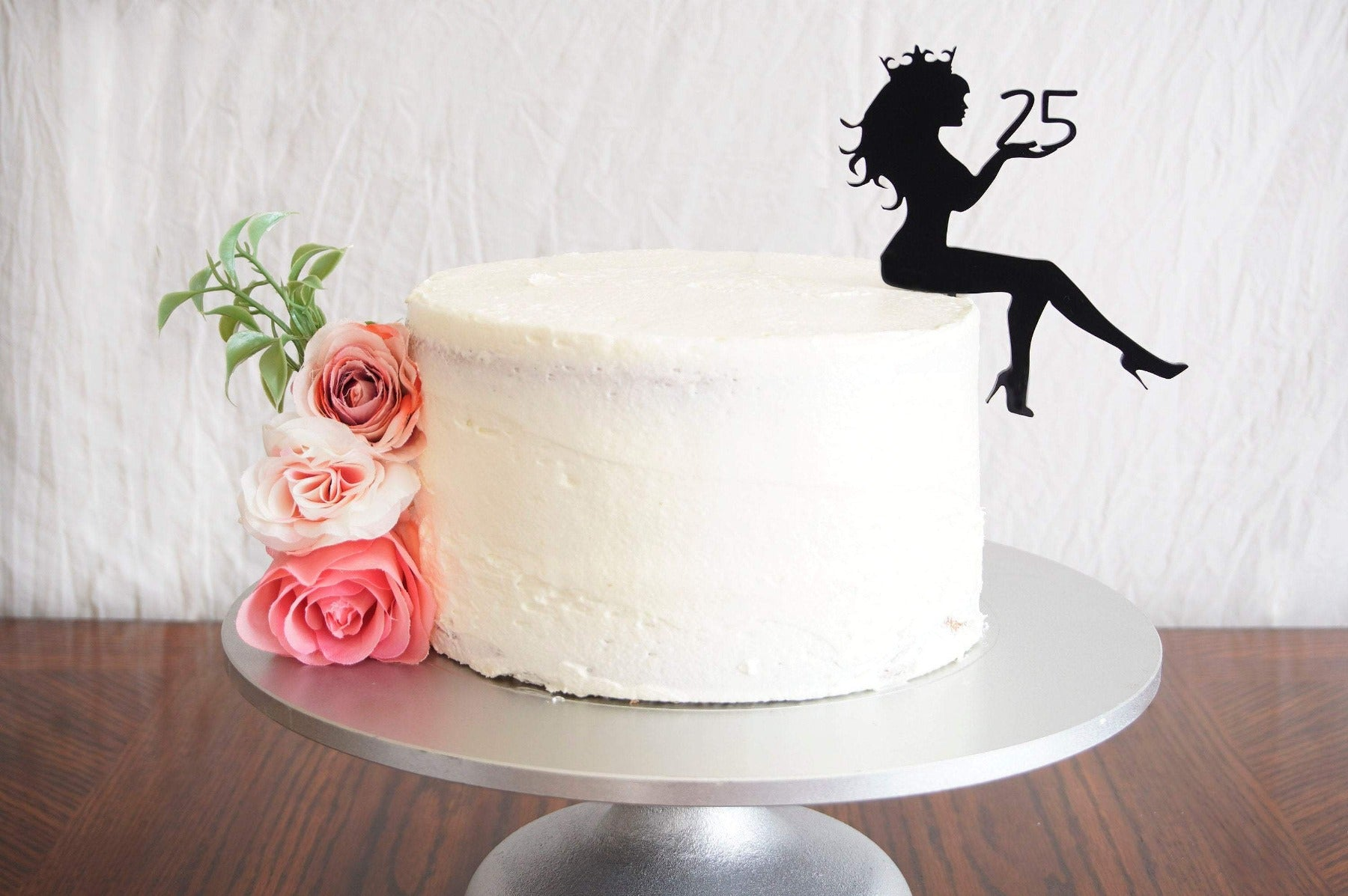 Diva Sitting Girl Silhouette Birthday Cake Topper | Personalized Any Age Birthday Cake Topper | Custom Cake Topper Made with Acrylic