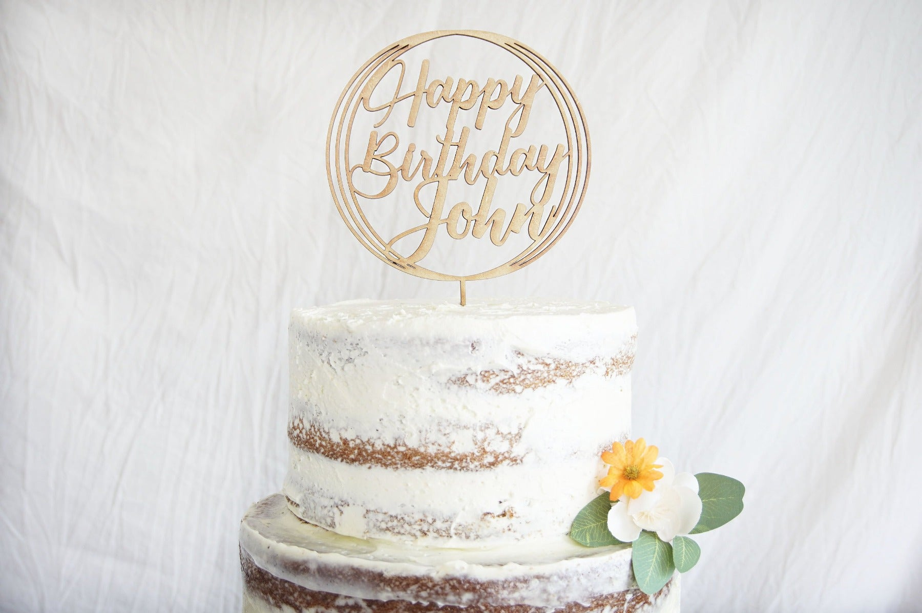 Happy Birthday Cake Topper | Custom Birthday Cake Topper | Personalized Name Cake Topper | Gold, Silver, Rose Gold, & Natural Wood Topper