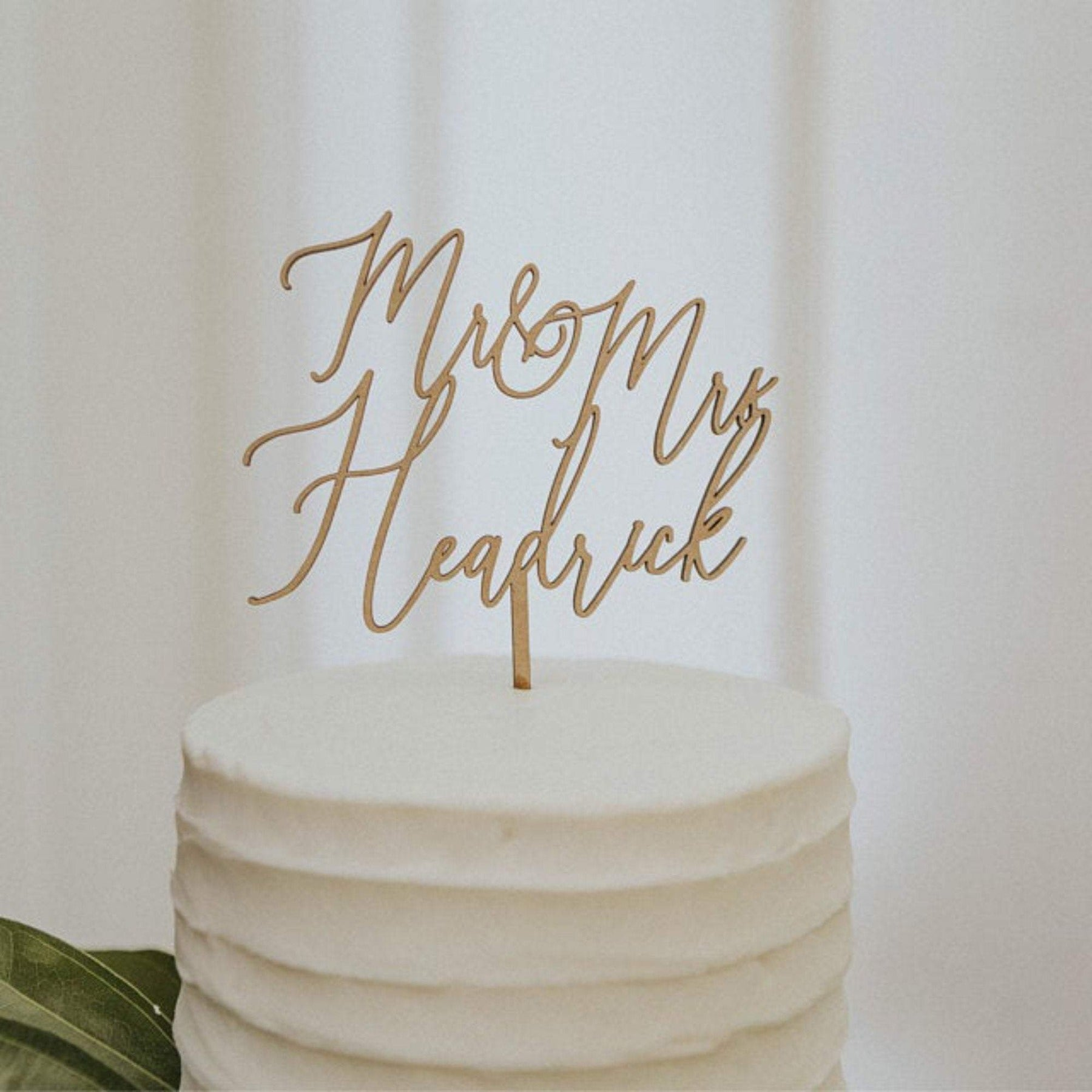 Mr and Mrs Wedding Cake Topper |  Heart Cake Topper Personalized | Gold, Silver, Rose Gold, & Wood Cake Topper | Custom Wood Cake Toppers