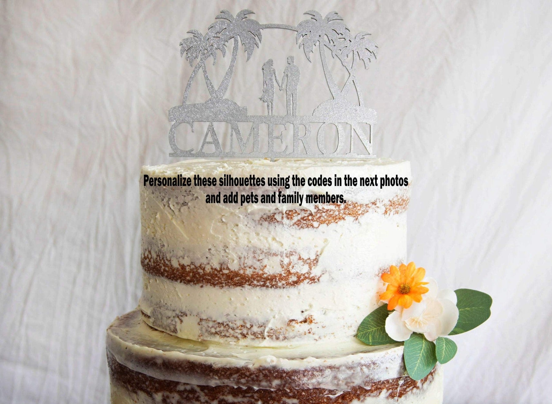 Scenic Beach Wedding Cake Topper | Tropical Beach Cake Topper | Custom Couple Wedding Cake Topper | Bride and Groom Cake Topper for Weddings