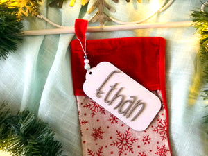 Christmas Stocking Name Tag | Custom Stocking Name Tag | Personalized Stocking Name Tag | Large Family and Pet Name Tag | Wood Gift
