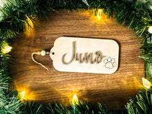 Load image into Gallery viewer, Christmas Stocking Name Tag | Custom Stocking Name Tag | Personalized Stocking Name Tag | Large Family and Pet Name Tag | Wood Gift