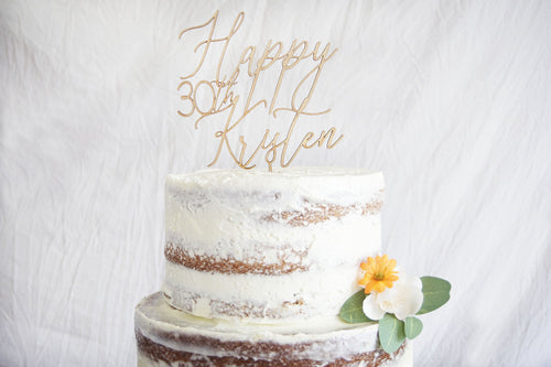 Custom Happy 30th Birthday Cake Topper | Calligraphy Script Font | Personalized Name Topper | Rustic Wood Centerpiece | Anniversary Gift