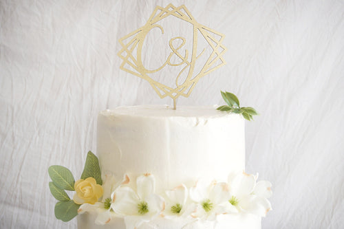 Geometric Initials Wedding Cake Topper | Elegant Monogram Centerpiece | Engagement or Anniversary Cake Topper | Gold Silver Rose Gold Wood
