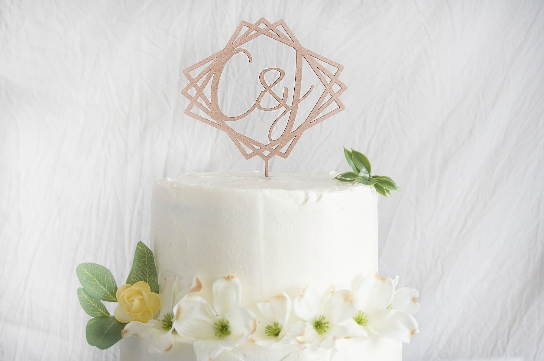 Geometric Wedding Cake Topper | Custom Cake Toppers Personalized | Made in Wood or Acrylic, Cake Toppers, designLEE Studio, designLEE Studio