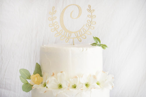 Laurel Wreath Wedding Cake Topper | Personalized Initials | Bridal Shower or Anniversary Gift