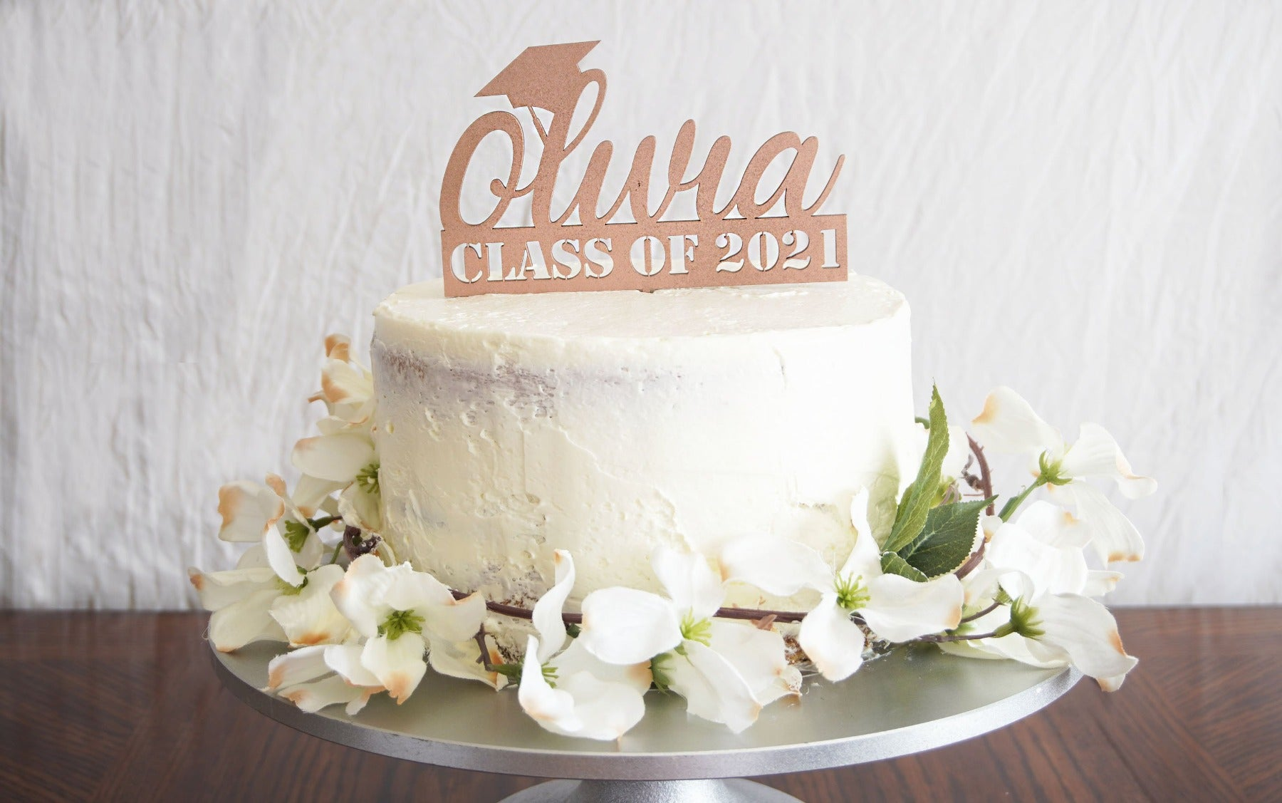 Personalized Graduation Cake Topper | Custom Congrats Class of 2021 Gift | Prom & Graduation Celebration Décor | Wood or Acrylic, Cake Toppers, designLEE Studio, designLEE Studio