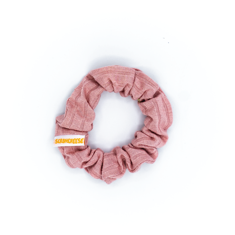 Pink Ribbed Mini Scrunchie