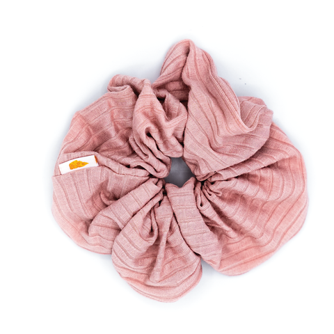 Pink Ribbed Jumbo Scrunchie