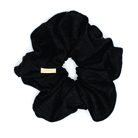 Black Ribbed Jumbo Scrunchie