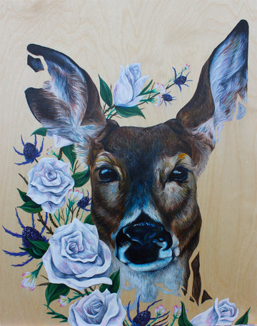 Deer with White Roses
