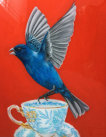 Indigo Bunting on Antique Cup