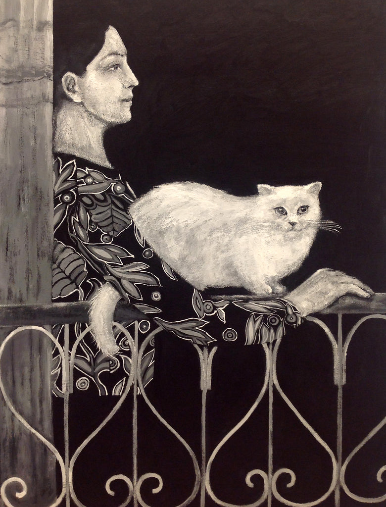 Young Woman Holding a White Cat