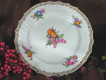 Plate Floral With Red Background