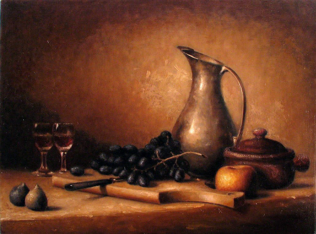 Still Life with Pitcher, Figs and Grapes