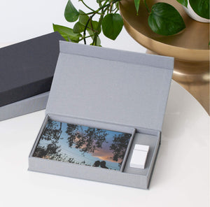 "Luxe Canvas Keepsake Print & USB Box in ""Pearl"" with White Wooden USB"