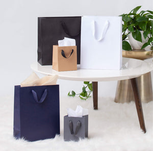 Luxe Paper Bags from Design Aglow - Black, Charcoal, White, Kraft, Royal