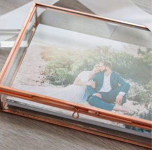 Rose Gold Glass Box - Shown with 4x6 Proofs (not included) and Satin Ribbon & Glass USB Drive (sold separately)
