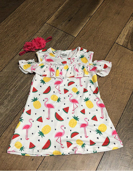 Hook & Taylor Kids-Pineapple/Flamingo Cold Shoulder Dress
