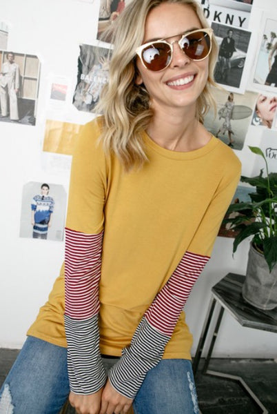Solid & Pin Stripe Top
