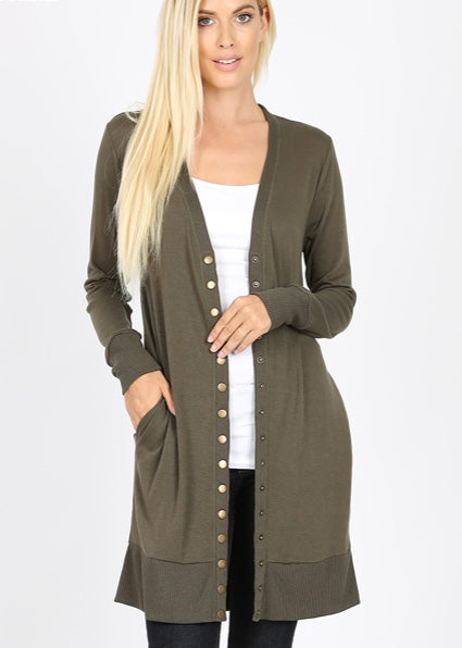Thigh-Length Snap Button Cardigan