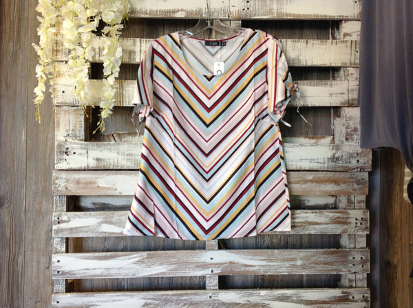Striped Tie Shoulder Blouse