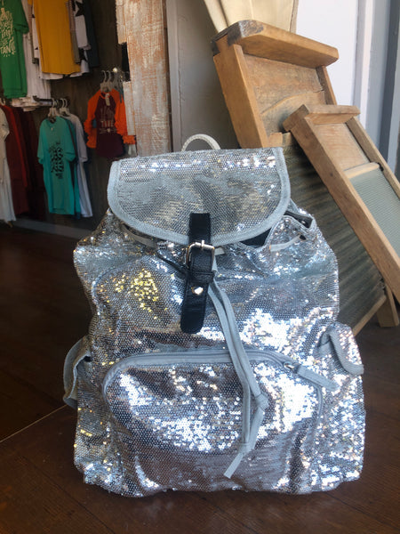 Sequin Draw String Backpack
