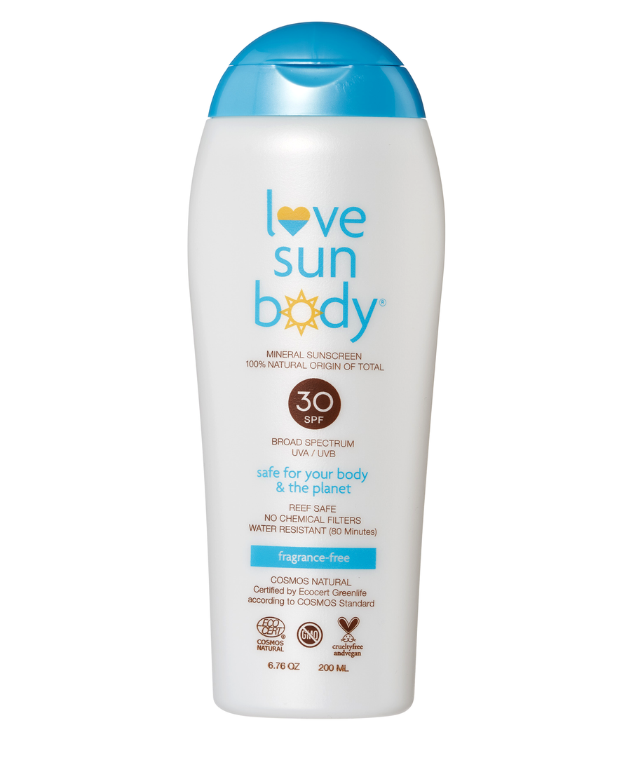 Love Sun Body 100% Natural Mineral Sunscreen SPF 30 Vegan Cruelty Free Organic Reef Safe Hypoallergenic Non-Comedogenic 80 Minute Water Resistant