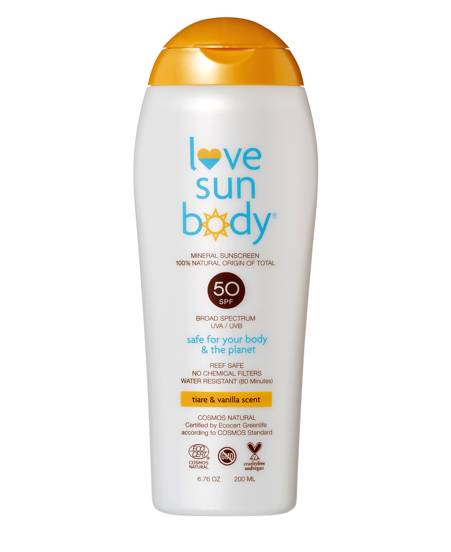 Love Sun Body 100% Natural Mineral Sunscreen SPF 50 Vegan Cruelty Free Organic Reef Safe Hypoallergenic Non-Comedogenic 80 Minute Water Resistant
