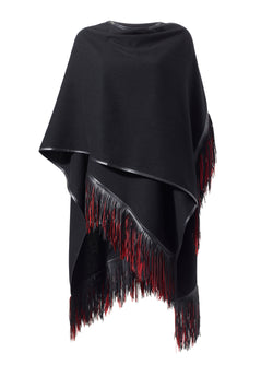 Cashmere Cape with Multicolour Fringe