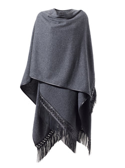 Cashmere Cape with Plaited Leather Fringe