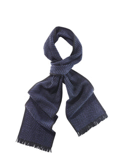Herringbone Woven Suede Scarf with Fringe