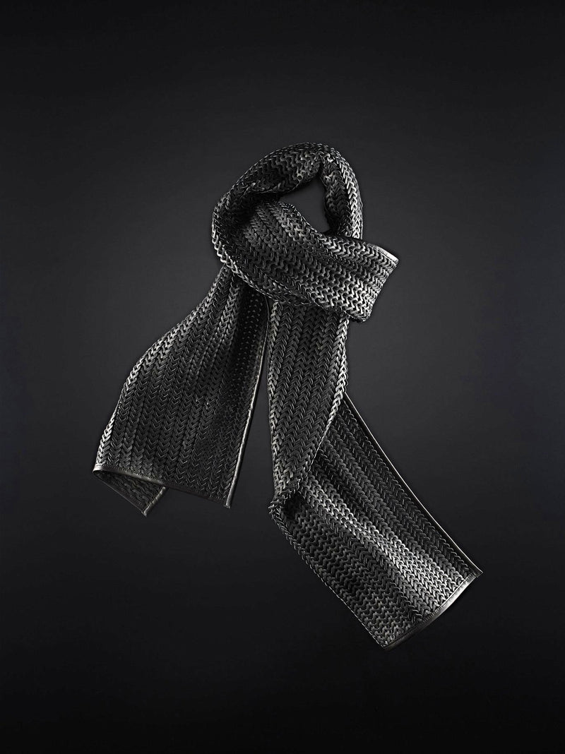 Knitted nappa leather scarf with contrast border