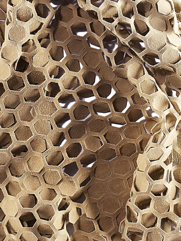 Honeycomb cut suede luxury scarf