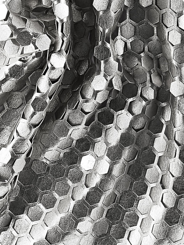 Honeycomb cut leather luxury scarf