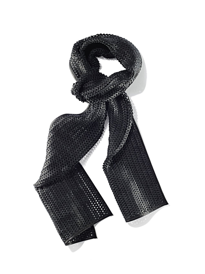 Knitted nappa leather scarf