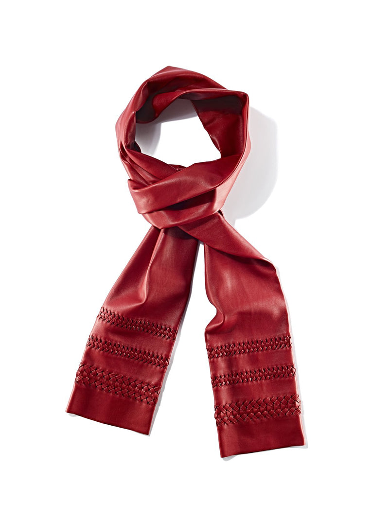 Nappa leather luxury scarf with hemstitch detail