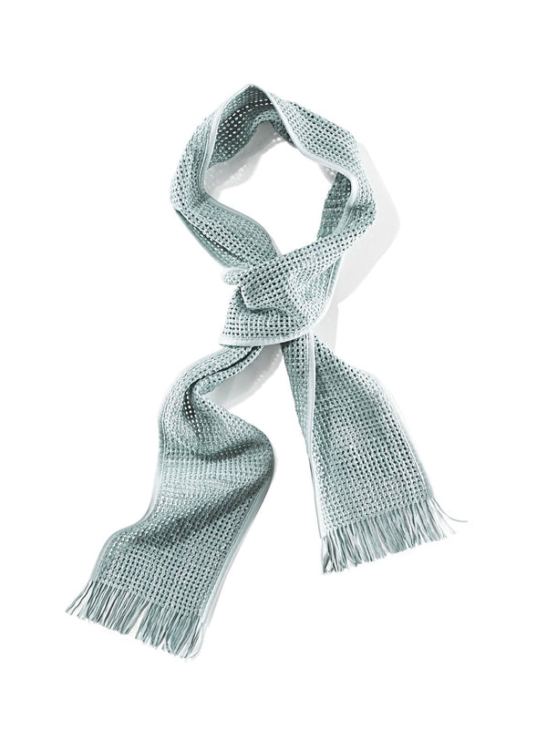Woven nappa mesh scarf with fringe